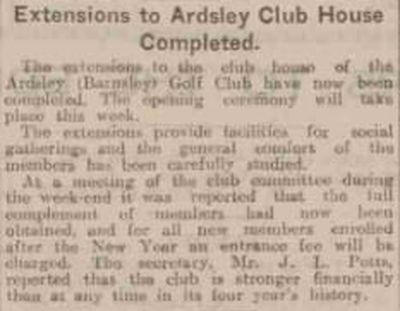 Ardsley Golf Club, Barnsley. Extension to the clubhouse completed in November 1932.
