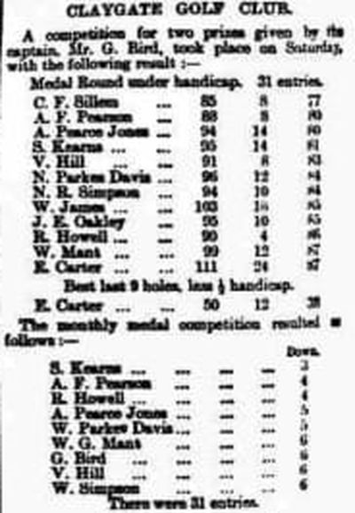 Claygate Golf Club, Claygate Common, Surrey. Competition results from December 1902.