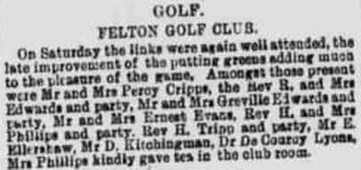 Felton Golf Club, Somerest. Report on the club from October 1892
