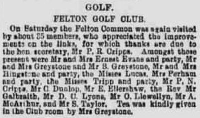 Felton Golf Club, Somerest. Report that shows the club playing on Felton Common.