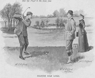 Neasden Golf Club, London. Pictures showing; Mr L Clifford; Mr S Clifford; Mrs I Clifford in December 1893.