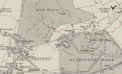 Neasden Golf Club, London. Ordnance Survey Map 1920.
